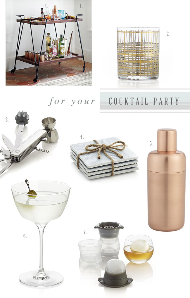 Crate & Barrel Registry for your Cocktail Party