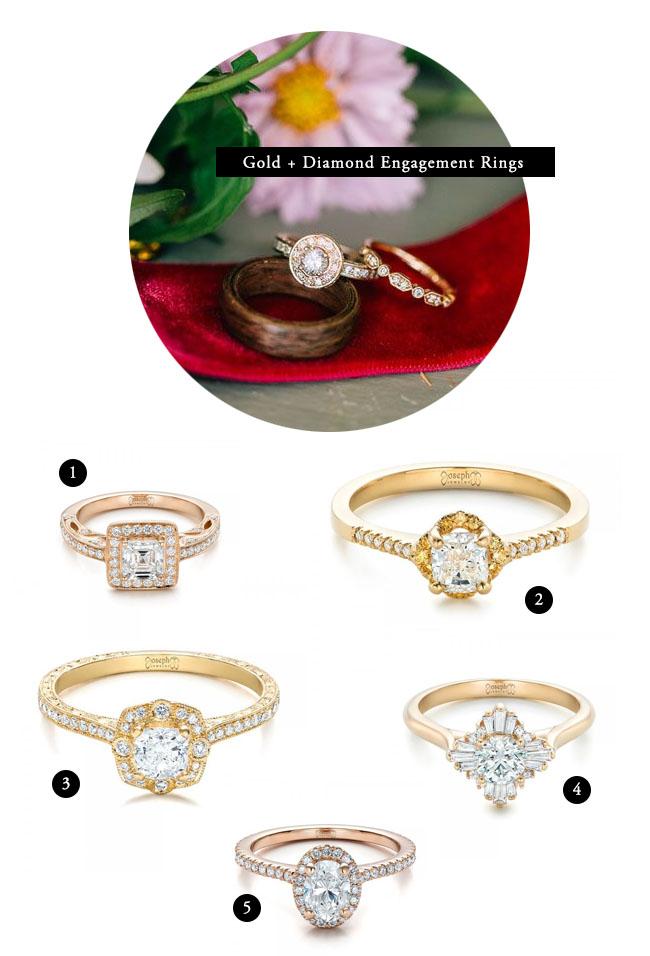 Gold + Diamond Engagement Rings