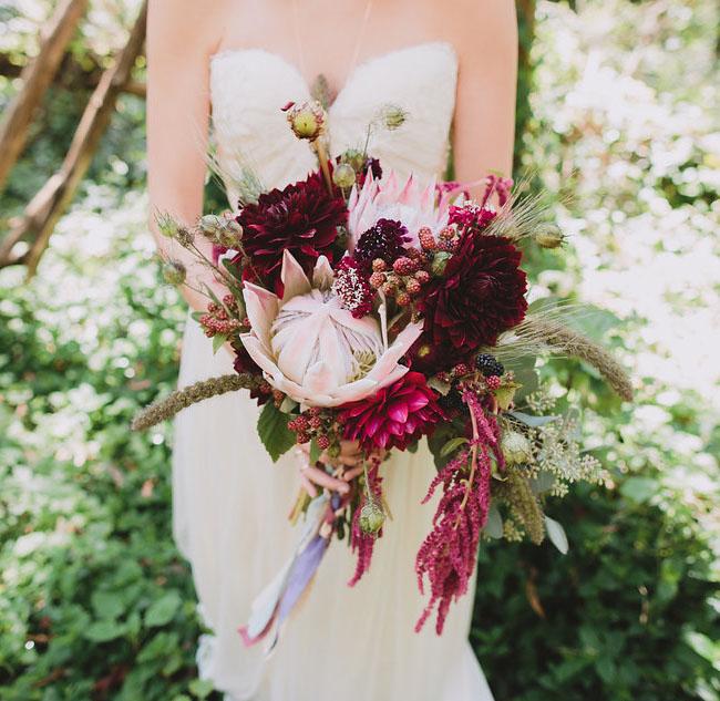 deep red protea bouquet