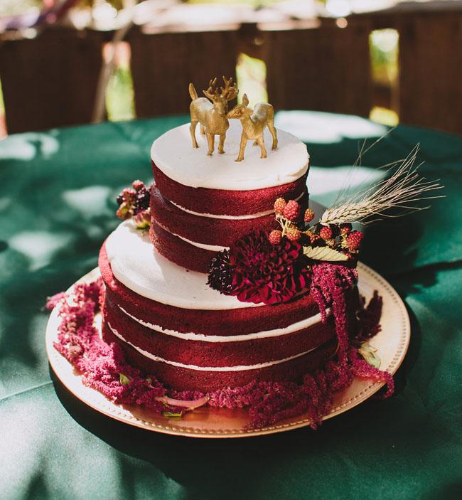 deep red naked cake