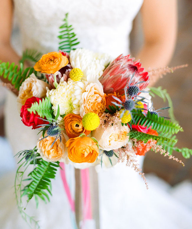 bright colorful protea bouquet