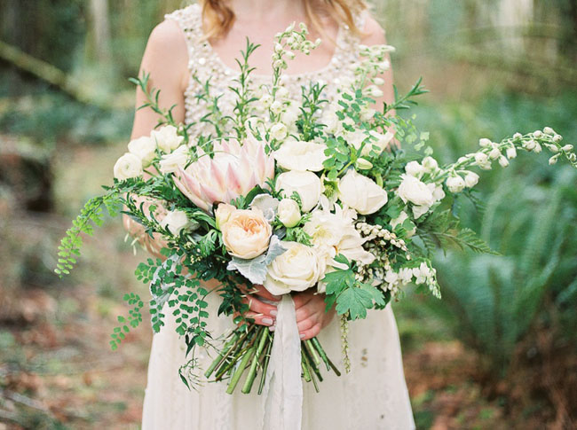 boho white bouquet