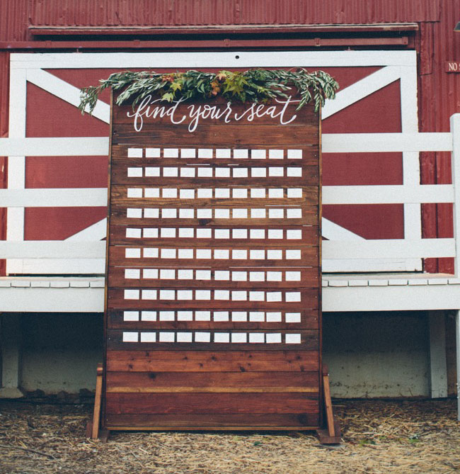 wooden wall seating chart