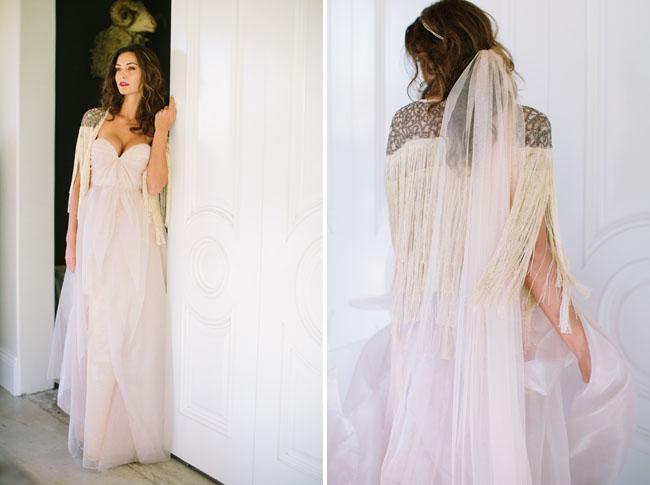 Rose Gold Wedding Dress 9 Popular fringe cape