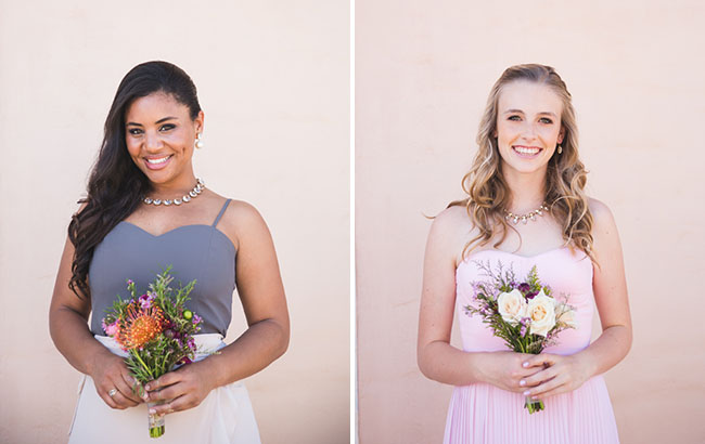 gray and pink bridesmaids