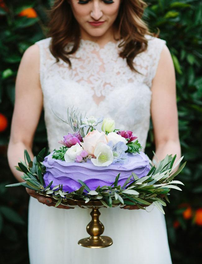 purple cake with flowers