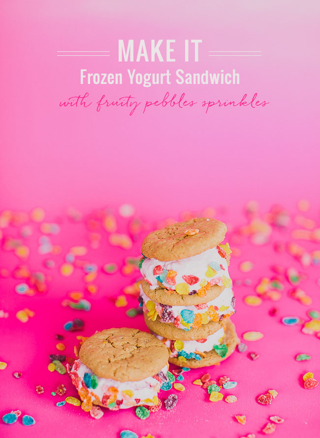 Frozen Yogurt Sandwich with Fruity Pebbles Sprinkles