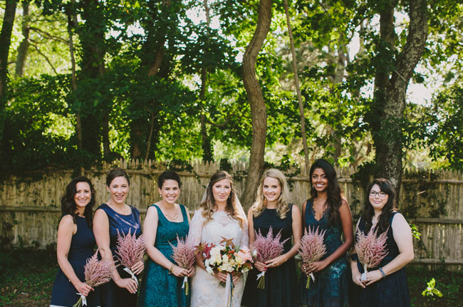 bridesmaids with astillbe bouquets
