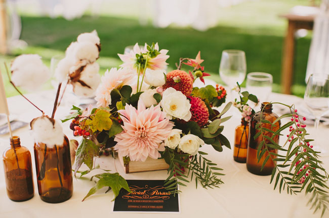 Fall dahlia centerpieces
