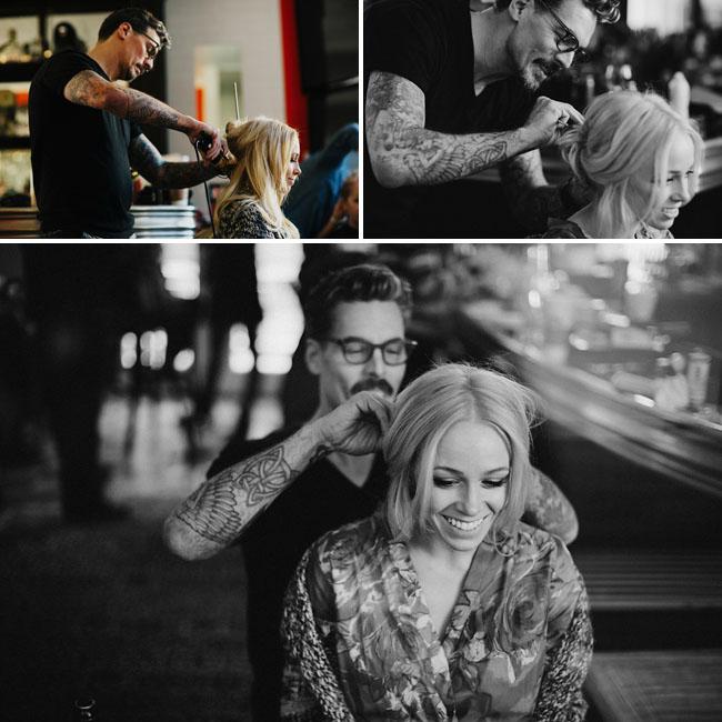 groom doing brides hair