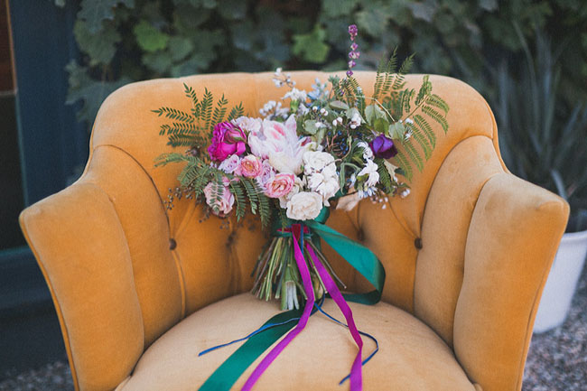 purple ribbon bouquet