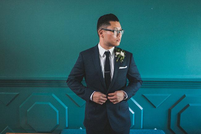 navy grooms suit