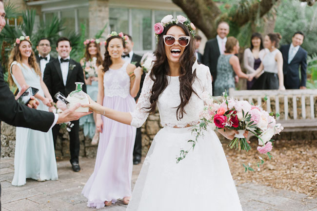 bride in sunglasses