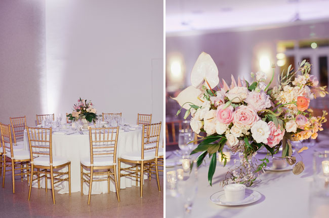 pink reception florals