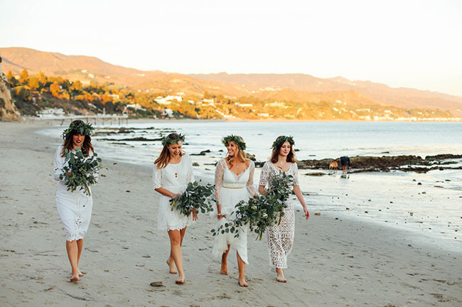white bridesmaids with flower crowns