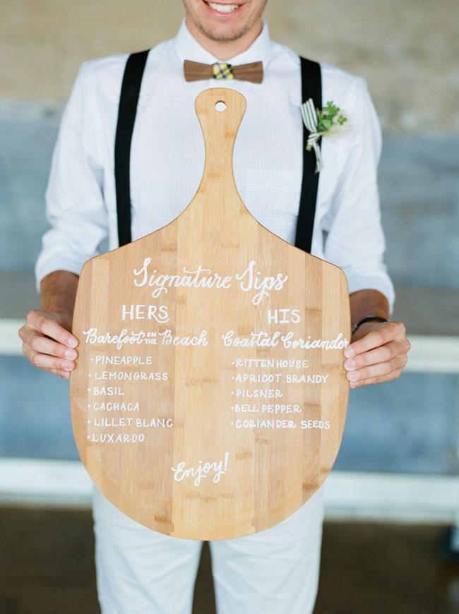 Wooden Cutting Board Menu