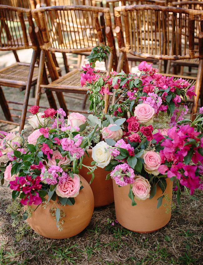 pink ceremony florals