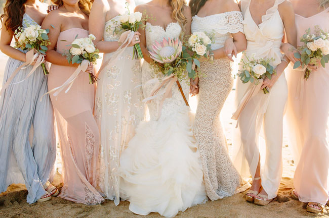 romantic beach bridesmaids