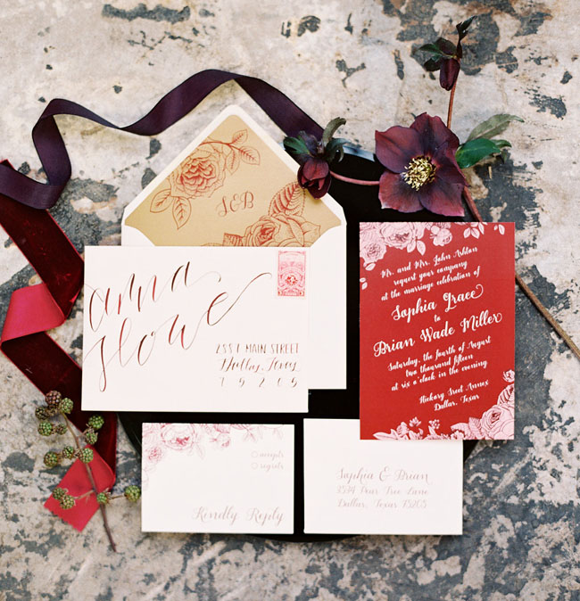 Marsala Inspired Invitation