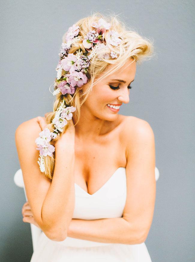 flowers in braids