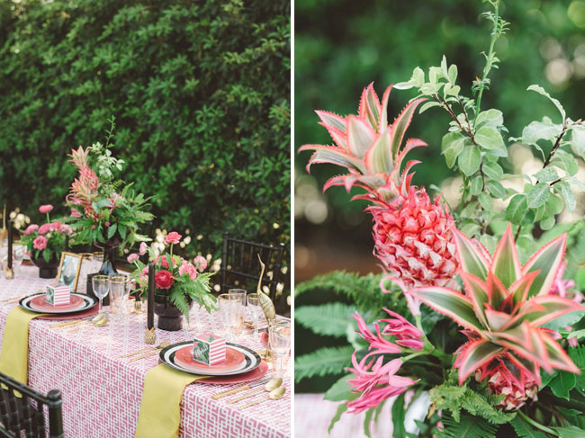 pink pineapple table decor