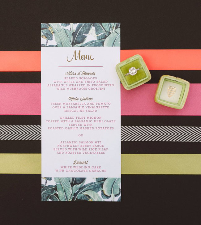 tropical leaf menu