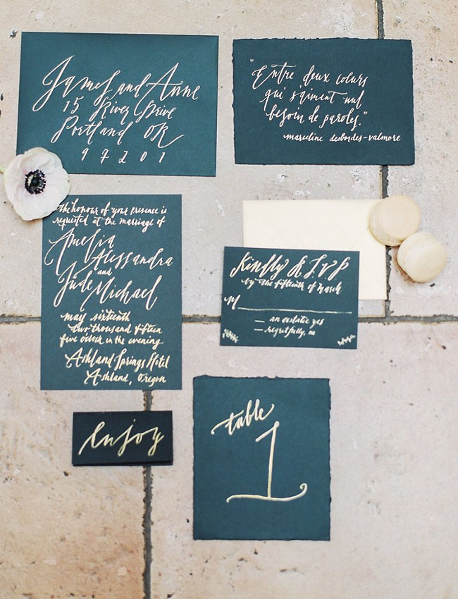 dark blue calligraphy