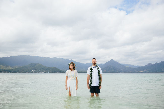 Intimate Sandbar Wedding in Hawaii: Katie + Joe