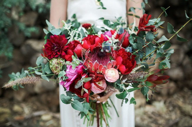 red protea bouquet
