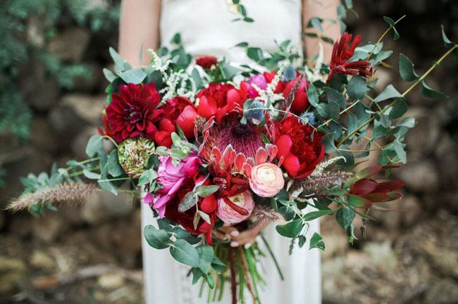 red protea bouquet