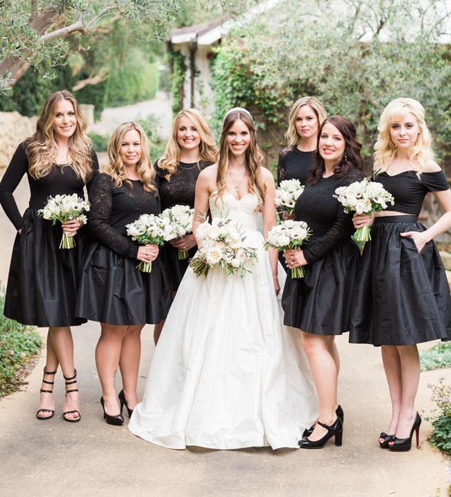 black bridesmaid outfits