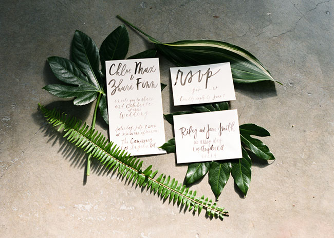 leaf and calligraphy invitation