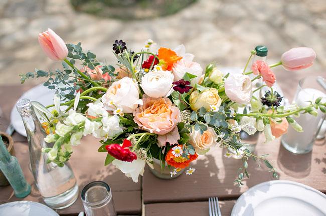 colorful Texas centerpieces