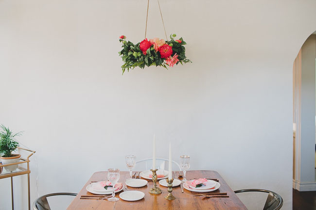 DIY Silk Flower Chandelier