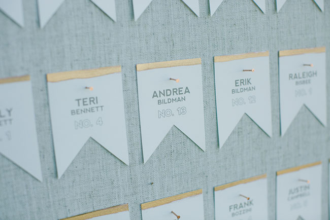 gold pennant escort cards