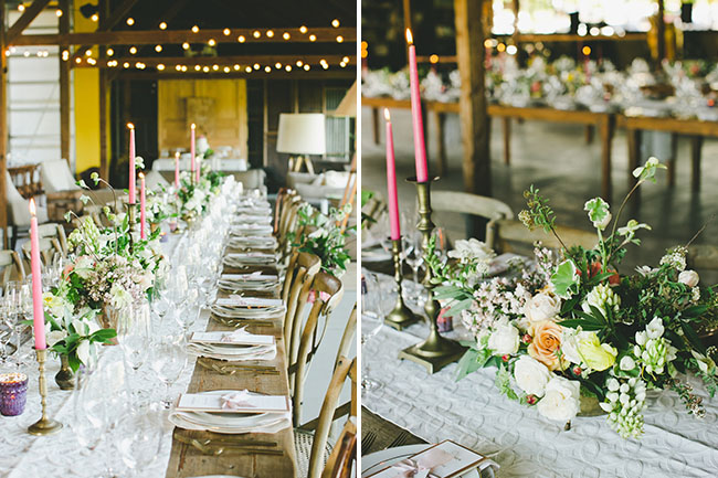 hot pink and neutral tablescape
