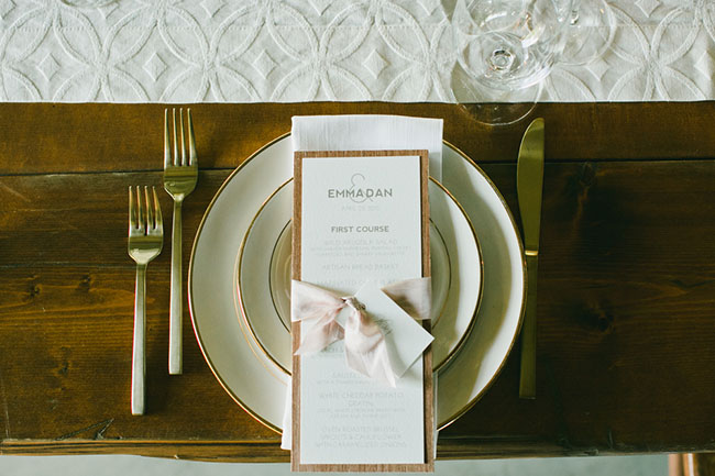 gold and pink accent menu