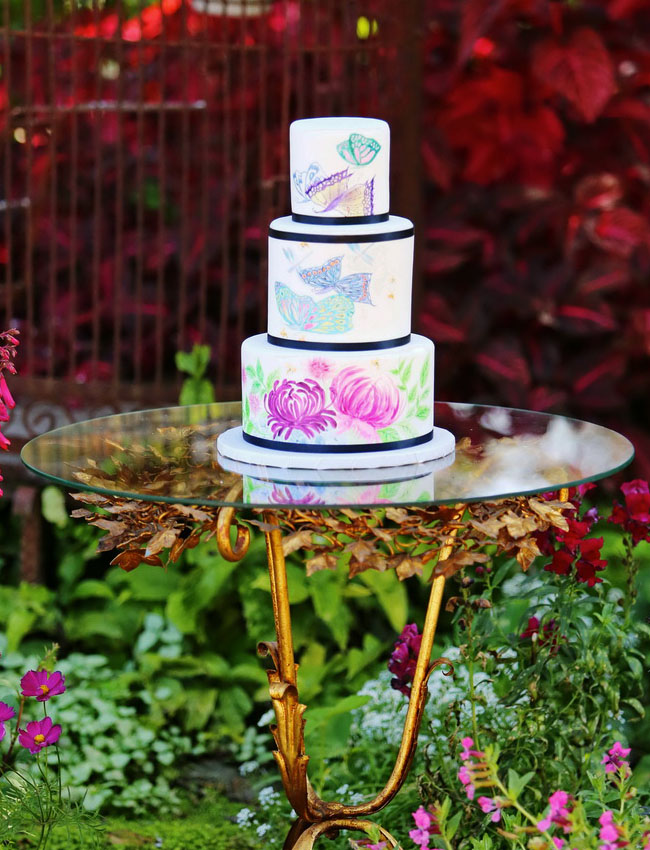 garden painted cake