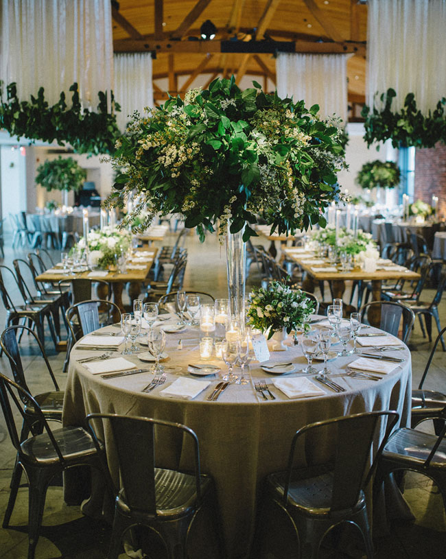 green reception florals