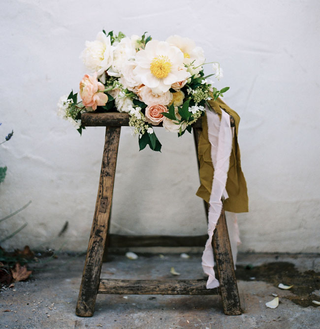 bouquet on stool