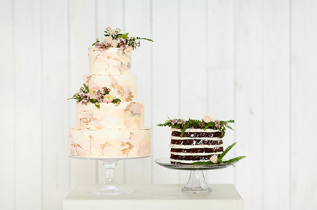 Modern Metallic Wedding Cake
