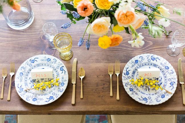 blue vintage plates