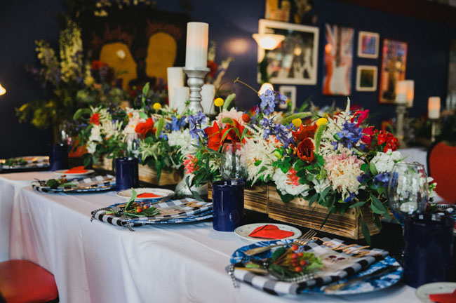 red white and blue florals