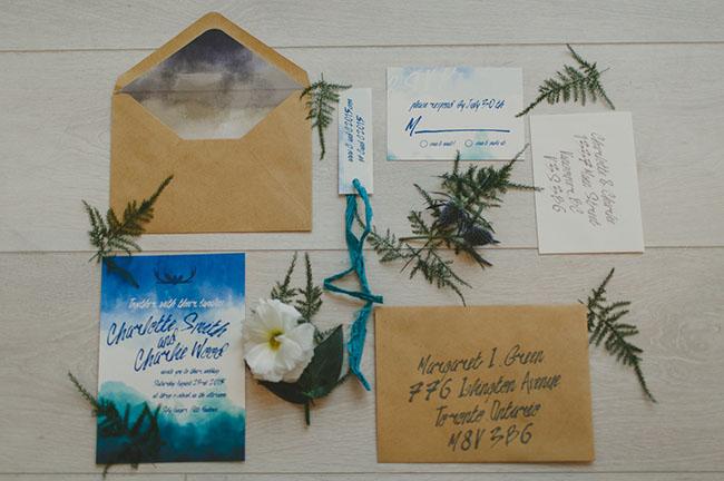 blue dyed invitation