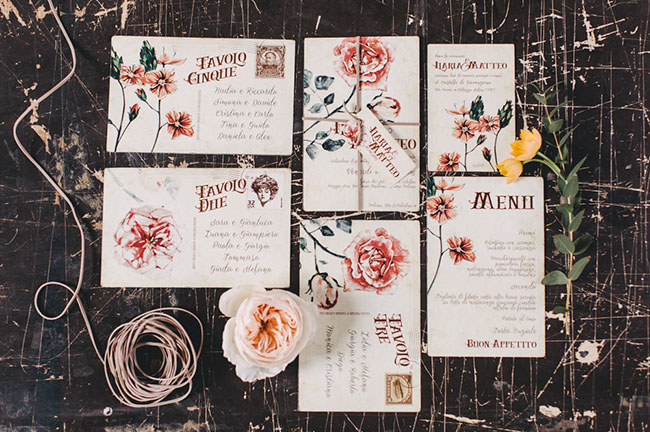 vintage rose invitation