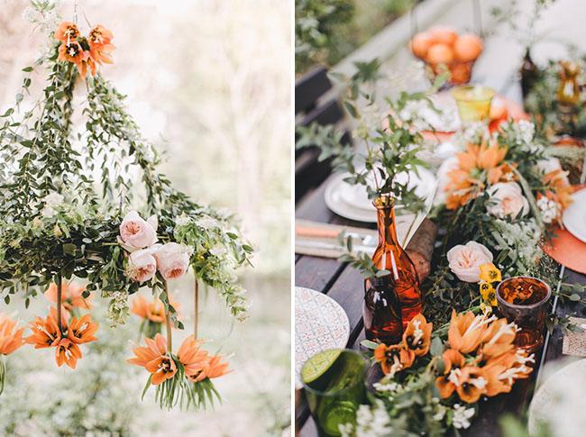 orange floral chandelier
