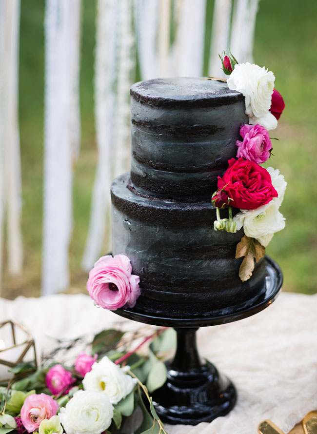 White Cake With Black Icing