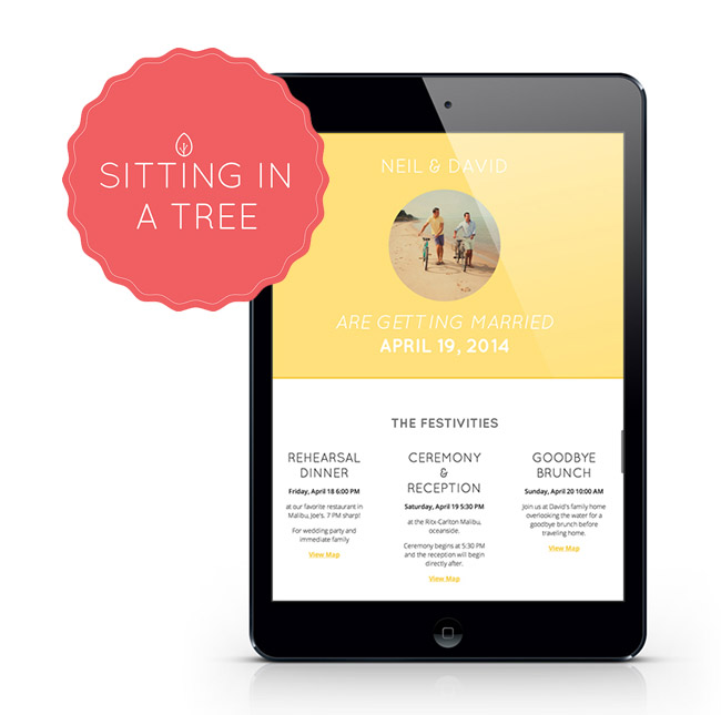 sitting in a tree wedding websites
