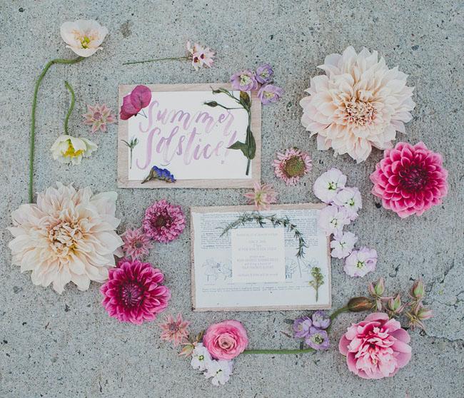 pressed flower invitation