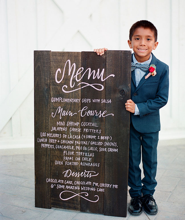 wooden calligraphy menu